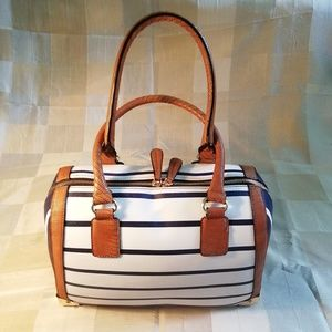 Also stripped satchel bag